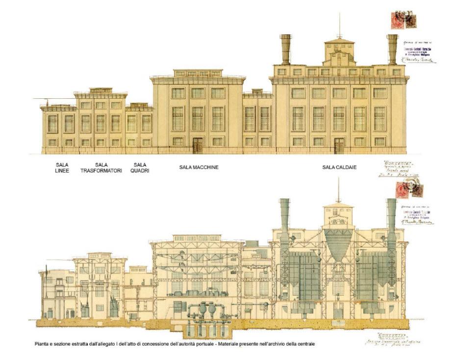 Pianta e Sezione Centrale Termoelettrica del Porto di Genova